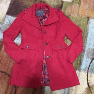 Guess red wool blend peacoat